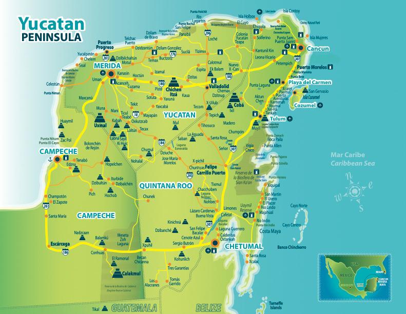 Indian Peninsula Map Yucatan Peninsula Map