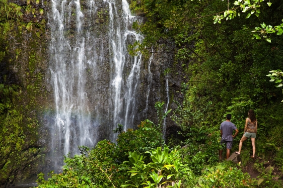 hana, waterfall, maui, hawaii, hiking