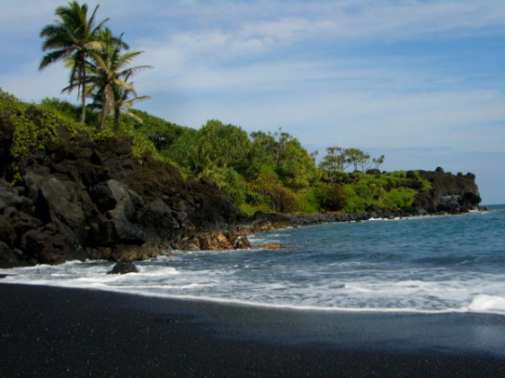 maui, black sand, beach, hawaii, aavtravel