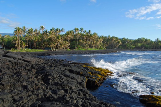 big island, black sand, beach, hawaii, aavtravel