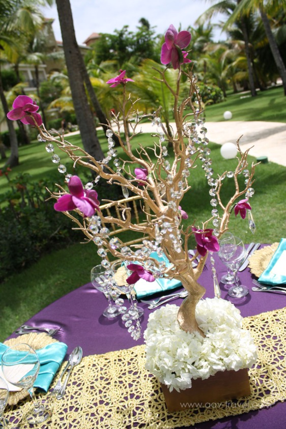 destination wedding, punta cana, dominican republic, la romana, secrets, dreams, now, aavtravel, beach wedding, centerpiece, purple, gold, crystal, orchid