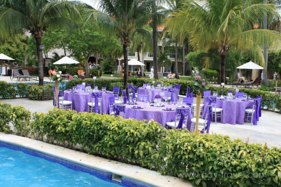 destination wedding, punta cana, dominican republic, la romana, secrets, dreams, now, aavtravel, beach wedding, reception, pool, purple