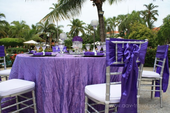 destination wedding, punta cana, dominican republic, la romana, secrets, dreams, now, aavtravel, beach wedding, table setting, purple