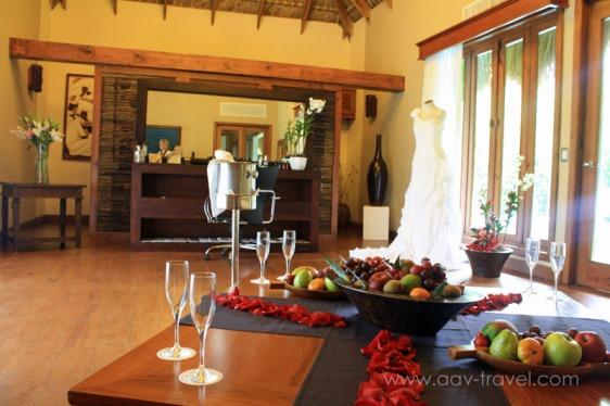 destination wedding, punta cana, dominican republic, la romana, secrets, dreams, now, aavtravel, beach wedding, bridal room, dressing room, wedding dress, champagne