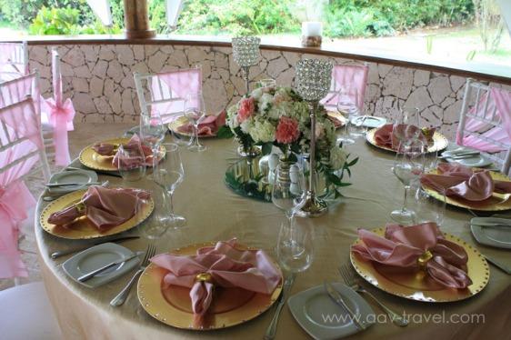 destination wedding, punta cana, dominican republic, la romana, secrets, dreams, now, aavtravel, beach wedding, rehearsal dinner, pink, cold, centerpiece, place settings