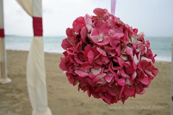 destination wedding, punta cana, dominican republic, la romana, secrets, dreams, now, aavtravel, beach wedding, flowers, pink, hydrangea