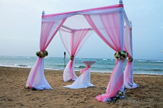 destination wedding, punta cana, dominican republic, la romana, secrets, dreams, now, aavtravel, beach wedding, pink, white