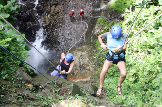 waterfall, rappelling, costa rica, adventure travel, aavtravel