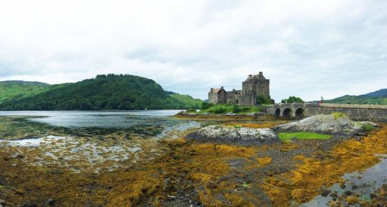 eilean donan, castle, scotland, low-tide, aavtavel, loch